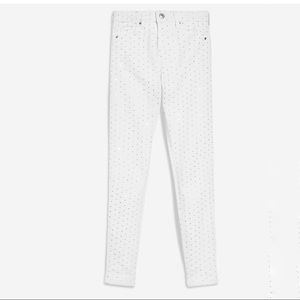 TOPSHOP Moto Jamie White Diamante Rhinestone Jeans